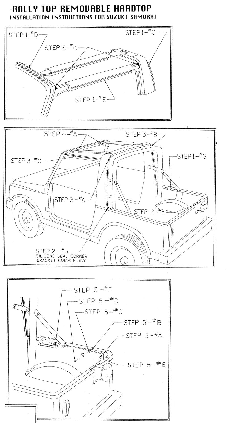 Installation Instructions For Suzuki Samurai 1 Piece Hardtops